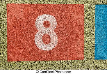 nombre, eight., playground., coloré, hopscotch.
