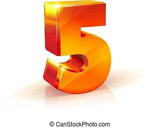 nombre, isolé, arrière-plan., cinq, orange, blanc, brillant, rouges