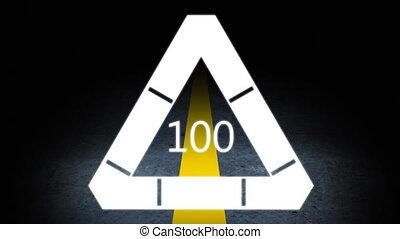 nombre, ligne, contre, 100, chargement, triangle, route jaune