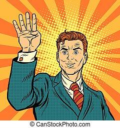 nombre, main, quatre, doigts, mâle, spectacles