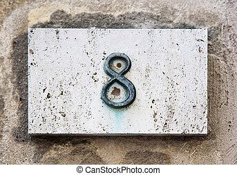 nombre, mur bloc