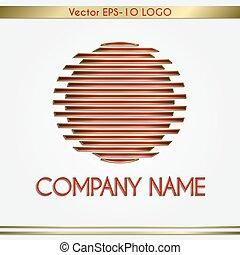 nombre, oro, resumen, vector, logotipo, compañía, redondo, rojo