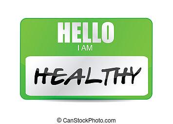 nombre, sano, ilustración, etiqueta, diseño, im, hola