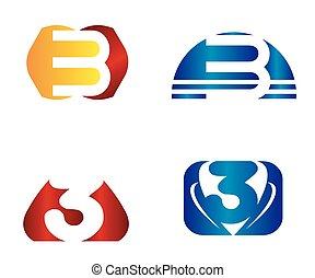 nombre, templat, 3, vecteur, conception, logo