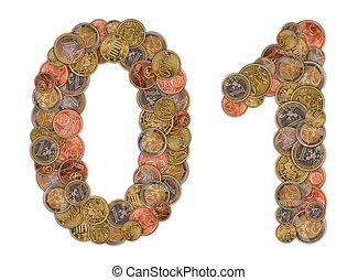 nombres, 0, et, 1, fait, de, euro, pièces