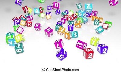 nombres, 3d, arrière-plan., field., circle)., blanc, (falling, numérologie, magie, créer, animation., cubes, profondeur