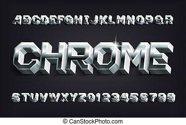 nombres, 3d, font., lettres, shadow., alphabet, chrome, métallique