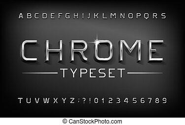 nombres, alphabet, lettres, shadow., métal, chrome, font., 3d