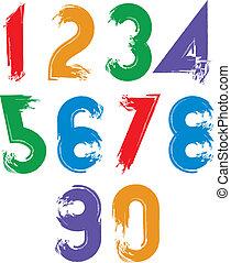 nombres, calligraphic, clair, vecteur, brosse, numeratio, main-peint