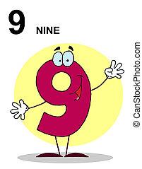 nombres, caractère, heureux, 9, dessin animé