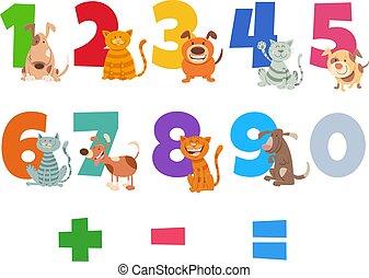 nombres, chiens, chats, ensemble, heureux