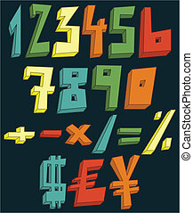nombres, coloré, 3d