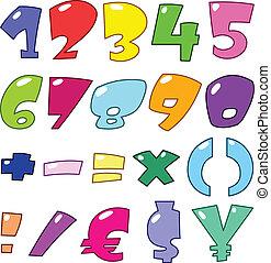 nombres, dessin animé, signes