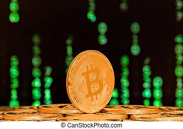 nombres, fin, arrière-plans, bitcoin, haut