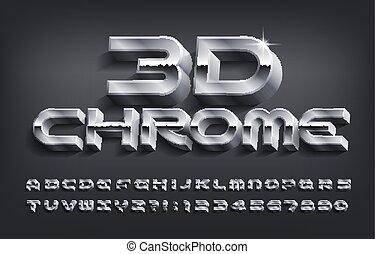 nombres, font., 3d, métal, chrome, lettres, shadow., effet, alphabet