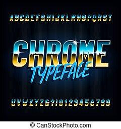 nombres, font., arrière-plan., étroit, alphabet, lettres, effet, métallique, chrome, sombre