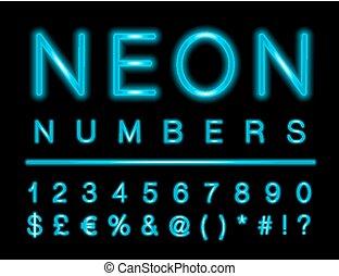 nombres, incandescent, mené, effet, ensemble, caractères, néon, spécial, bleu
