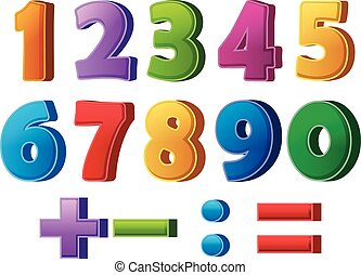nombres, mathématique, opérations, coloré