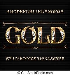 nombres, or, diamant, orné, alphabet, bijoutier, lettres, doré, gemstones., font.