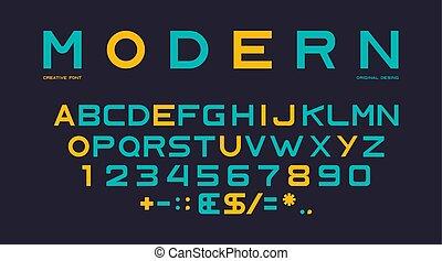 nombres, ponctuation, latin, police, alphabet