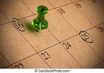 nombres, punaise, papier, recyclé, calendrier, vert