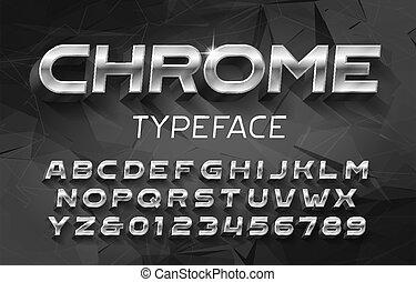 nombres, résumé, lettres, métal, alphabet, font., chrome, shadow., 3d, arrière-plan., effet