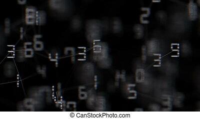 nombres, space., business, mouche, seamless, arrière-plan., loop., relié ensemble, changer