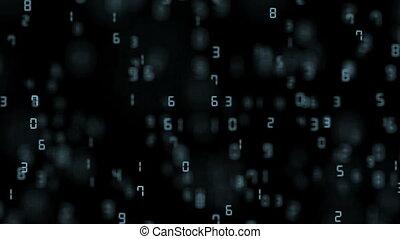 nombres, space., mouche, profondeur, bleu, business, seamless, field., arrière-plan., loop.