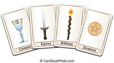 nombres, tarot, francés, tarjetas