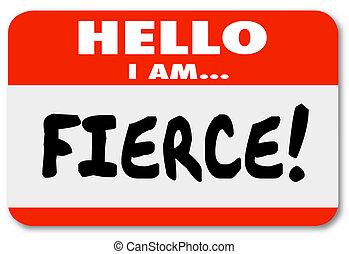 nome, adesivo, pers, tag, feroz, agressivo, olá, fearsome, arrojado
