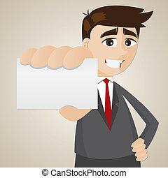 nome, mostrando, em branco, homem negócios, caricatura, cartão