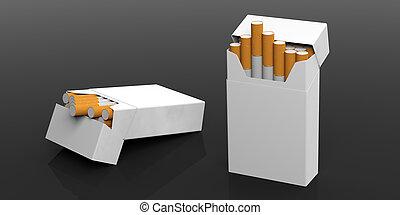 nome, pacchi, concept., spazio, text., isolato, illustrazione, sigaretta, fondo, nero, vietato fumare, vuoto, 3d