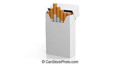 nome, spazio, concept., no, text., isolato, illustrazione, sigaretta, fondo, vuoto, fumo, bianco, pacco, 3d