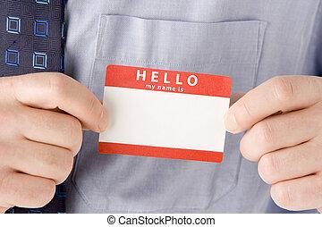 nome, su, fissaggio, etichetta, chiudere, uomo affari