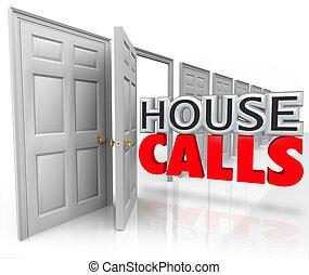 nomeação, chamadas, doutor, casa, visita, lar, profissional