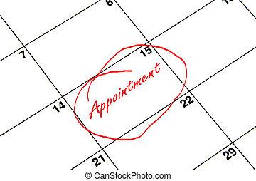 nomeação, circundado, ligado, um, calendário, em, vermelho