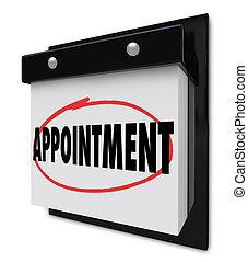 nomeação, lembrete, ligado, calendário, programa