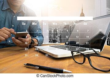 nomeação, lembrete, para, calendário, e, organizador, agenda