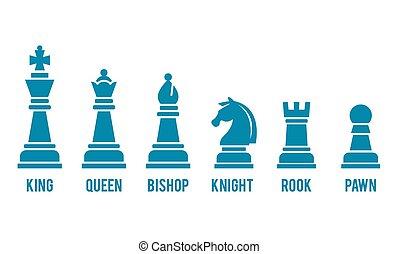nomeado, pedaço, xadrez, ícones