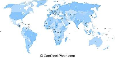 noms, mondiale, pays, territoires, dépendant, carte, ...