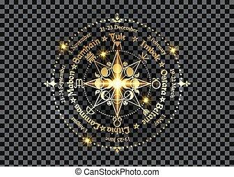 noms, roue, calendrier, annuel, année, celtique, wiccan, païen, symbole, phases, wicca, festivals., compas, or, holidays., triple, lune, déesse, solstices, cycle, saisonnier