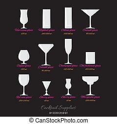 noms, vecteur, cocktails, lunettes