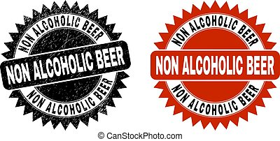 NON ALCOHOLIC BEER Black Rosette Stamp with Grunge Surface