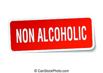 non alcoholic square sticker on white