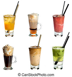 Collection of non alcoholic cocktails or drinks isolated on white background .Orange juice, Cappuccino, Fruity summer cocktai, Irish coffee, White Frappe Coffee ,Kiwi juice