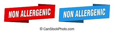 non allergenic ribbon label sign set. non allergenic banner