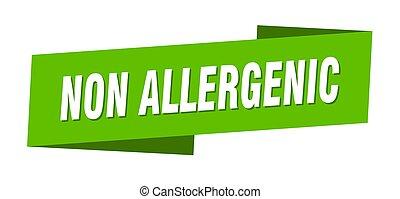 non allergenic banner template. ribbon label sticker. sign