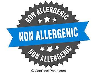 non allergenic round isolated ribbon label. non allergenic sign