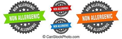 non allergenic sign. round ribbon label set. Stamp