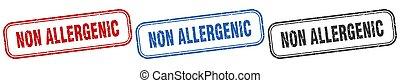 non allergenic square isolated sign set. non allergenic stamp